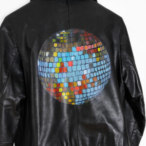disco ball painting vintage leather jacket by Ashley Treece